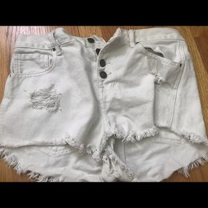 Pacsun highrise white shorts